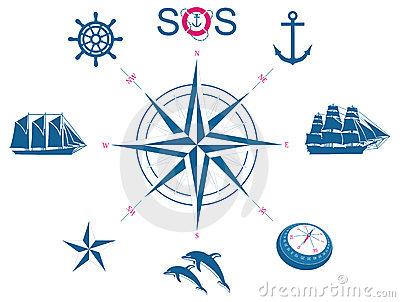 Set of nautical symbols