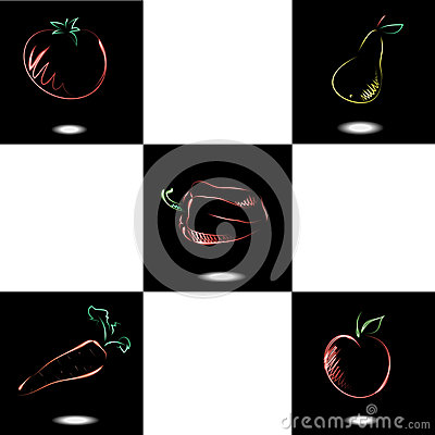 Set with neon fruit and vegetables