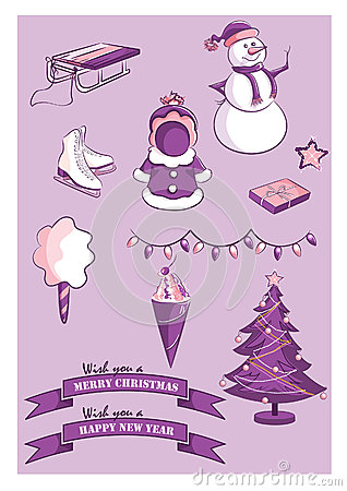 Set of New Year and Christmas items
