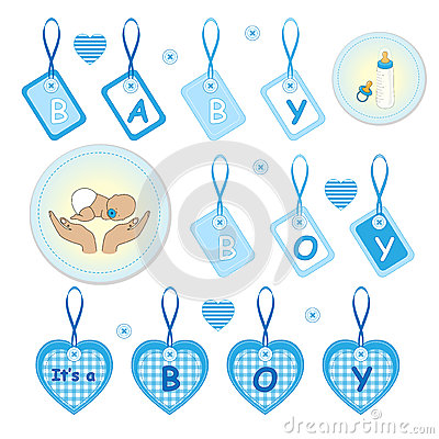 Newborn baby boy design elements
