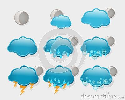 Set of  night weather forecast icons