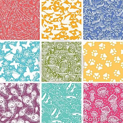 Set of nine animal vector seamless patterns