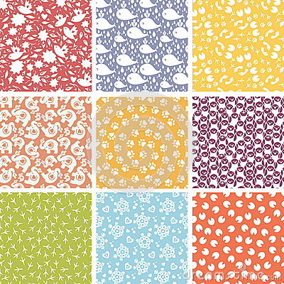 Set of nine cute elements seamless patterns