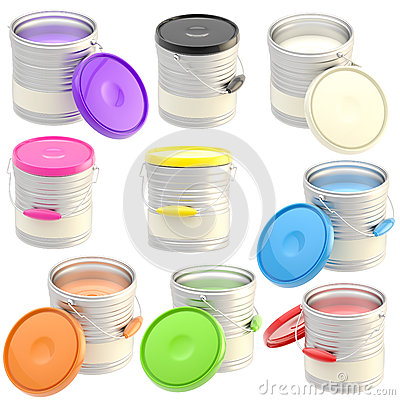 Set of nine glossy paint buckets isolated