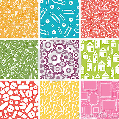 Set of nine household objects seamless patterns