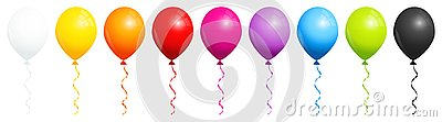 Set Of Nine Rainbow Balloons With Black And White Stock Photo