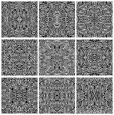 Set of Nine Seamless Abstract Pattern Vectors
