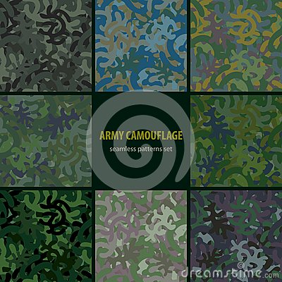 Set of nine seamless camouflage patterns