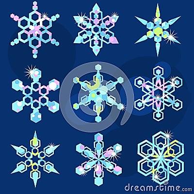Set of nine sparkling snowflakes