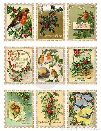 Set of nine vintage Christmas bird holly stamps