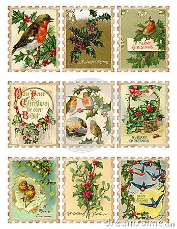 Set of nine vintage Christmas bird holly stamps