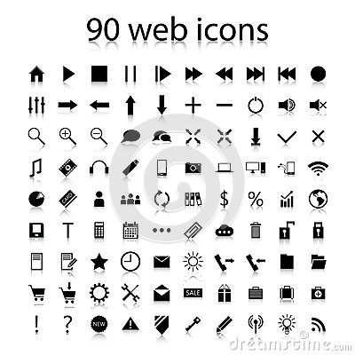 Set of ninety black web icons