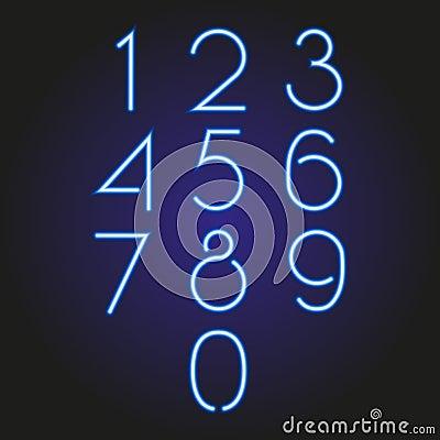 Set of numbers glowing neon blue illustration Cartoon Illustration
