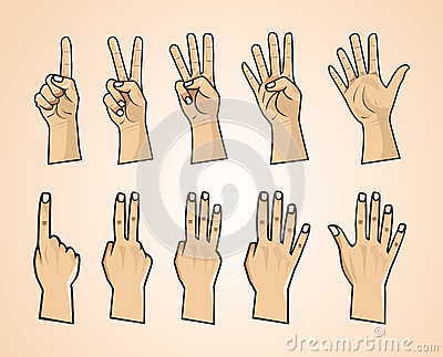 Set of numbers on the hands illustration Vector Illustration