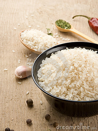 Set of nutrition and rice on wood