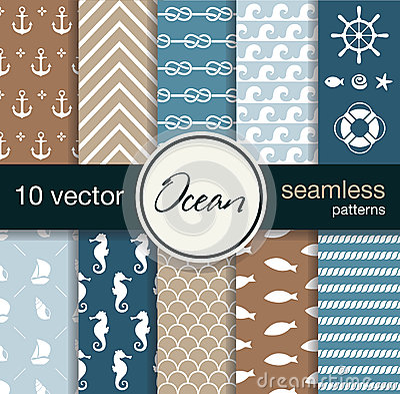 Free Set Of 10 Seamless Vector Patterns. Nautical Theme. Royalty Free Stock Photos - 48437048