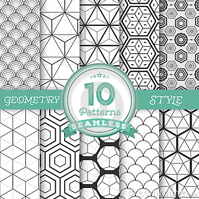 Free Set Of 10 Vector Seamless Geometric Lines Pattern Backgrounds Fo Stock Photos - 57514333
