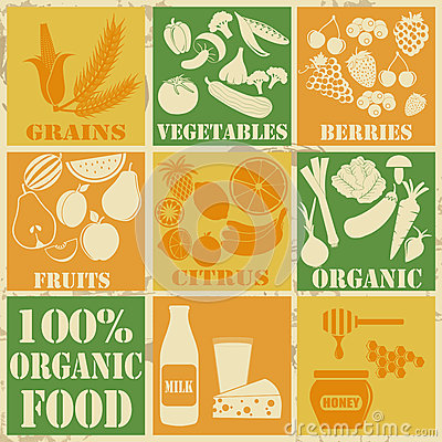Free Set Of 100 Organic And Healthy Food Icons Stock Photo - 32155590