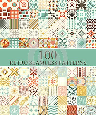 Free Set Of 100 Seamless Retro Stock Image - 41663671