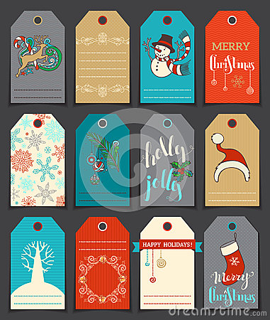 Free Set Of 12 Christmas And New Year Cute Gift Tags. Stock Photos - 63331243