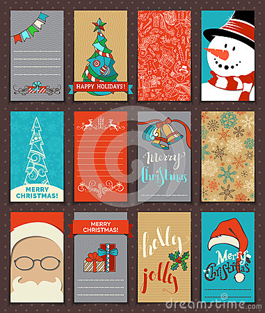Free Set Of 12 Christmas Poster And Card Templates. Stock Photo - 63331250