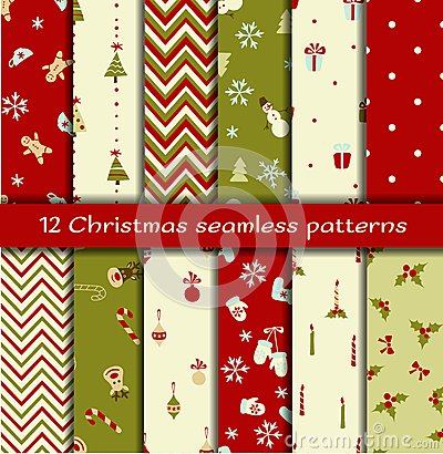 Free Set Of 12 Christmas Seamless Patterns Stock Photography - 35575662