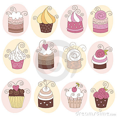 Free Set Of 12 Cute Cupcakes Royalty Free Stock Image - 16338336