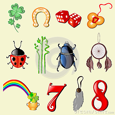Free Set Of 12 Symbols Of Luck Stock Photography - 33442132