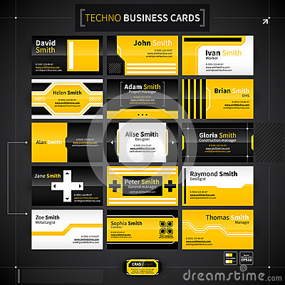 Free Set Of 15 Business Cards In Techno Style. Stock Image - 53645811