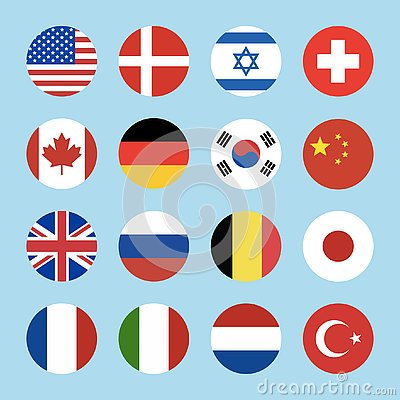 Free Set Of 16 Circle World Flags Icons Isolated On Blue Background Royalty Free Stock Photography - 138289937