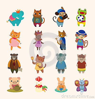 Free Set Of 16 Cute Animal Icons Stock Photography - 26123702