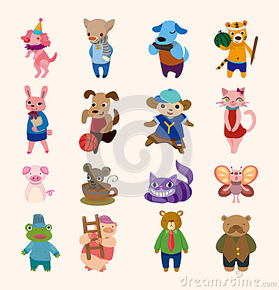 Free Set Of 16 Cute Animal Icons Royalty Free Stock Photo - 26123705