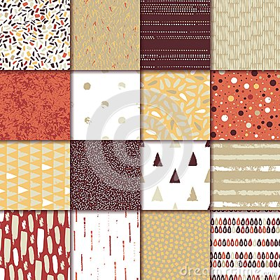 Free Set Of 16 Seamless Texture. Drops, Points, Lines, Stripes, Circles, Triangles, Rectangles. Abstract Forms Drawn A Wide Pen And Ink Royalty Free Stock Photos - 113629698