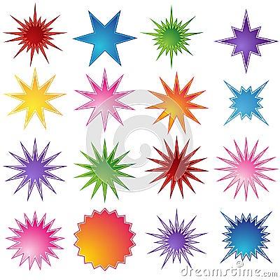 Free Set Of 16 Starburst Shapes Royalty Free Stock Photography - 10059777