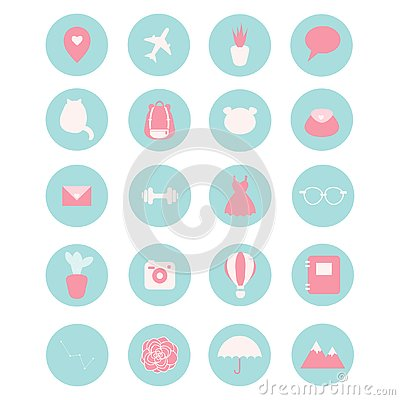 Free Set Of 20 Vector Icons For Social Networks, Business, Etc. Stock Image - 126645031