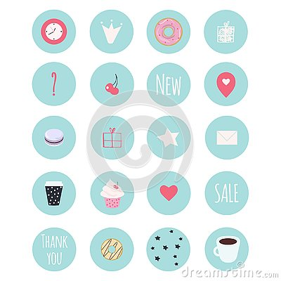 Free Set Of 20 Vector Icons Including Sweets For Patisserie Stock Photography - 126310242