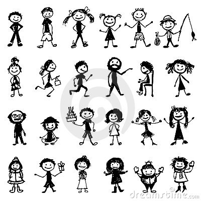 Free Set Of 24 Drawing People S For Your Design Stock Photo - 21039360