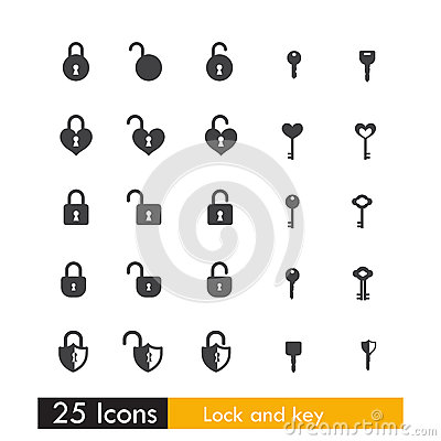 Free Set Of 25 Icon Key And Lock Isolated On White Background Royalty Free Stock Photography - 61814597