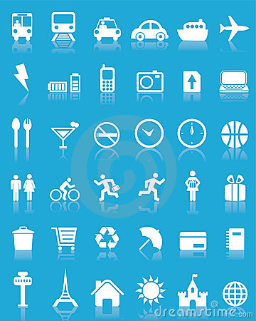 Free Set Of 36 Vector Travel Icons Royalty Free Stock Photos - 6236458