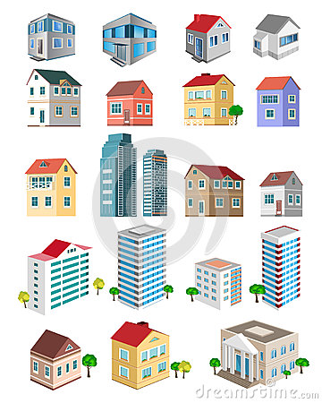 Free Set Of 3d Detailed Buildings With Different Types Of Perspective: Skyscrapers, Real Estate Houses Royalty Free Stock Photos - 66142078