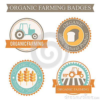 Free Set Of 4 Agricultural And Farming Badges Stock Photo - 59096210