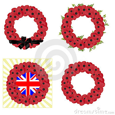 Free Set Of 4 Remembrance Wreaths Vector Stock Image - 13746901