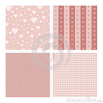 Free Set Of 4 Seamless Patterns Wih Hearts Stock Photos - 58844593