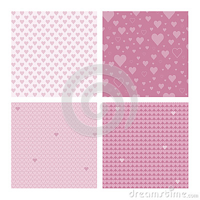 Free Set Of 4 Seamless Patterns Wih Hearts Stock Images - 58844614