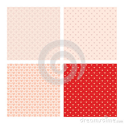 Free Set Of 4 Seamless Patterns Wih Hearts Stock Image - 58844771