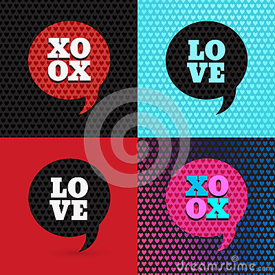 Free Set Of 4 Valentines Day Illustrations And Typography Elements Royalty Free Stock Photo - 46807975