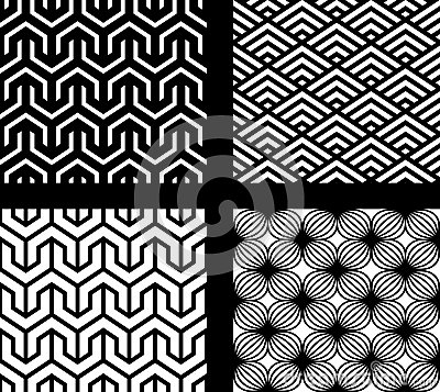 Free Set Of 4 Vector Abstract Seamless Patterns Stock Photo - 25306370