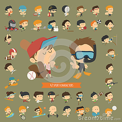 Free Set Of 42 Sport Characters Royalty Free Stock Photos - 45092638
