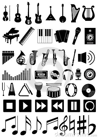 Free Set Of 50 Music Icons Royalty Free Stock Image - 42400706