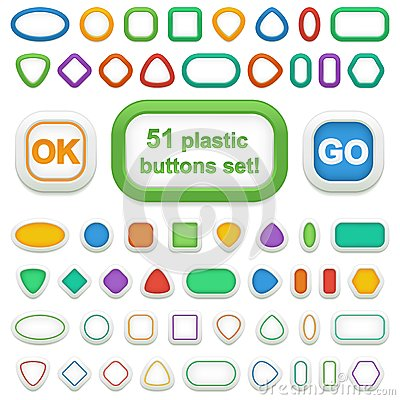 Free Set Of 51 Geometric 3d Plastic Buttons And Infographic Elements Royalty Free Stock Photo - 36015075